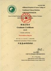 Сертификат обучения ТКМ в Китае (Университет провинции Ганьсу)